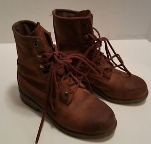 Roper Mens Brown Leather Insulated Waterproof Boots Sz 6 Oil Resistant Steel Toe
