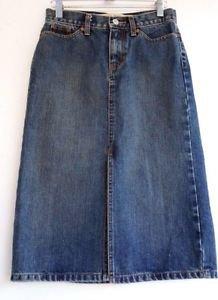 Womens Gap Cotton Distressed Denim Blue Jean Skirt size 0 Split Front