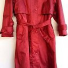 British Mist Womens Long Red Raincoat Trenchcoat Zip Out Quilted Lining Size 10