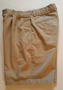 Polo Ralph Lauren Mens Khaki Pleated Shorts Size 33 100% Cotton Walking Casual