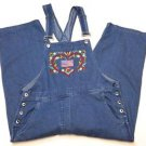 Donna Ricco Womens Denim Blue Jean Carpenter Bib Overalls Capri Size M U.S. Flag