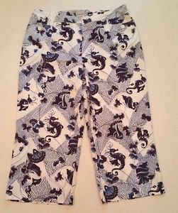 Chico's Womens Blue & White Sea Horse Print Capri Cropped Pants sz 1.5, sz 10