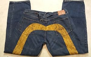 Men's No. 2 Button Fly Baggy Loose Distessed Denim Blue Jeans Size 42W 35 Inseam