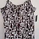 Style & Co Womens Brown White Print Tank Top Blouse Built in Bra Size XL NWT