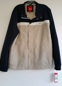 Mens Izod Tan & Navy Blue Rain Windbreaker Jacket Size Large NWD