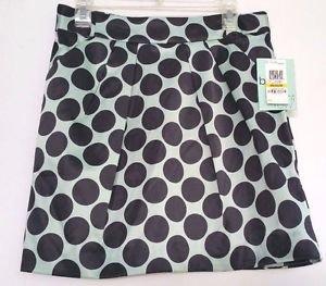 Bar III Front Row Womens Short Polka Dot Skirt Seafoam Green & Black NWT Size M