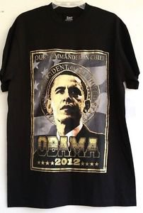 "Obama 2012 ""Our Commander In Chief"" T-Shirt Black & Gold 100% Cotton Size XL NWT"
