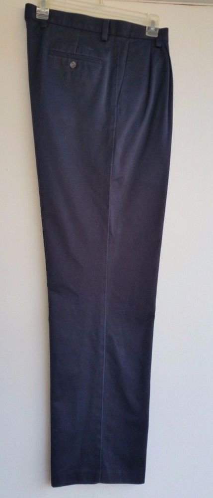 Dockers Mens Pleated Front Navy Blue Pants Size W34 L34 Cotton Classic Fit