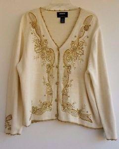 Holiday Womens Ivory Metallic Gold Beaded Sweater Size XL Studio Joy Cardigan