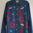 Womens Earth Sea & Sky Blue Jean Denim Jacket Coat Size L Sequin Embroidery