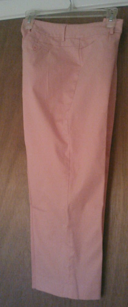 Peach Orange Peck & Peck Womens Stretch Cropped Pants Capri's Size  6 EUC