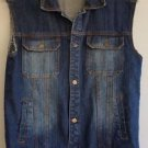 Mens MJ Collection Distressed Denim Trucker Jean Vest B-Boys Sleeveless Size 16
