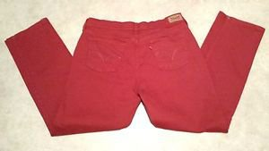 Levis Womens 505 Rust Orange Distressed Stretch Denim Jeans Size 14M Boot Cut