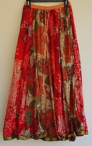 Baba Los Angeles Womens Hippie Max Long Skirt Gold Trim One Size Red Orange Prin