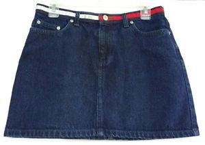 Tommy Jeans Hipster Flag Womens Juniors Dark Denim Blue Jean Mini Skirt size 9