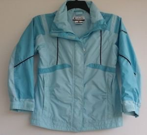Columbia Boys Girls Blue Hooded Lightweight Nylon Jacket Size 10/12 Youth Spring