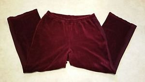 Style&co Woman Sport Dark Red Velour Stretch Pull On Pants Size 1X Cotton Blend