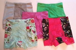 Lot of 5 Pairs of Womens Shear Shapewear Size XS Print Solid Purple Green Pink