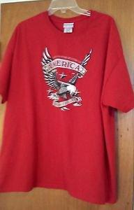 Men's Womens Red Patriotic American Eagle USA Freedom Forever TShirt sz XXL EUC
