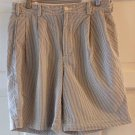 Brooks Brothers Mens Blue & White Seer Sucker Shorts Size 32 Pleated Cotton