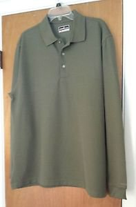 Mens Grand Slam Performance Long Sleeve Gray Polo Golf Shirt Size XL Stay Dry