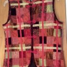 Coldwater Creek Vintage Red Burgundy Velvet Patchwork Womens Vest Size Medium