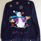 Quacker Factory Womens Blue Velveteen Snowman Christmas Jacket Coat Size Small