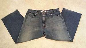 Levis Mens Womens 569 Loose Straight Distressed Denim Blue Jeans W38 L26
