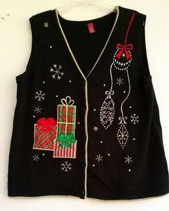 UGLY Christmas Sweater Womens Vest Black Gold Trim Gifts Ornaments Size XL 16/18