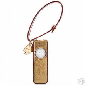 -- Kate Spade -- Gold Metallic Leather iPod Shuffle Case - New