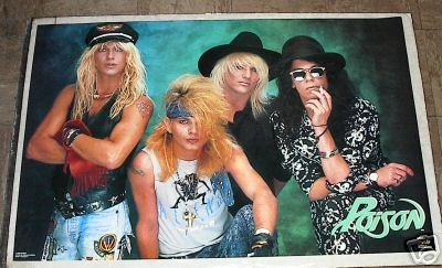 VINTAGE RARE 1988 POISON OPEN UP GROUP POSTER 22x34