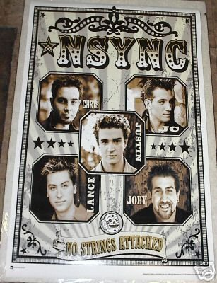 VINTAGE 2000 NSYNC NO STRINGS ATTACHED POSTER 22x34