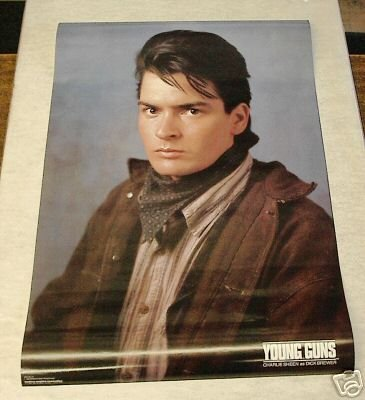 VINTAGE 1988 YOUNG GUNS CHARLIE SHEEN POSTER 22x34 rare