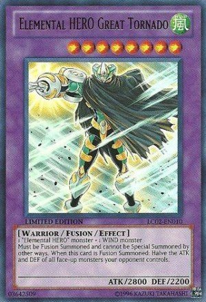YUGIOH ELEMENTAL HERO GREAT TORNADO LIMITED EDITION LC02-EN010 near mint card