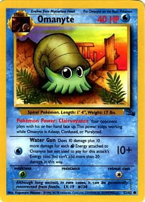 Pokemon Omanyte (Fossil) 1st Edition #52/62 near mint card