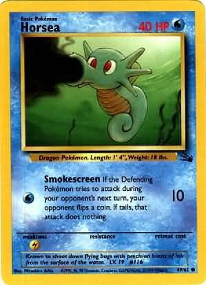 Pokemon Horsea (Fossil) 1st Edition #49/62 near mint card