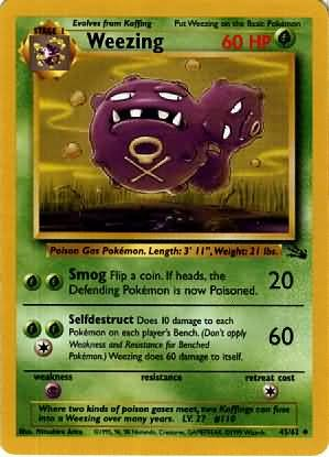 Pokemon Weezing (Fossil) Unlimited Edition #45/62 near mint card