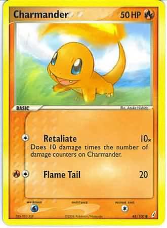 Pokemon Charmander (Crystal Guardians) #48/100 near mint card