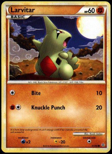 Pokemon Larvitar (HGSS Unleashed)  near mint card #51/95 common