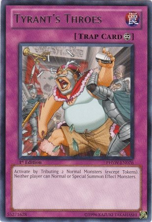 Yugioh Tyrant's Throes (PHSW-EN076) near mint card 1st Edition Silver Letter Rare