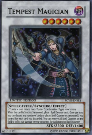 Yugioh Tempest Magician (SOVR-ENSE1) Limited Edition near mint card Super Rare Holo