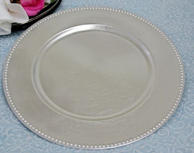 """Silver Chargers Plate 13"""""""