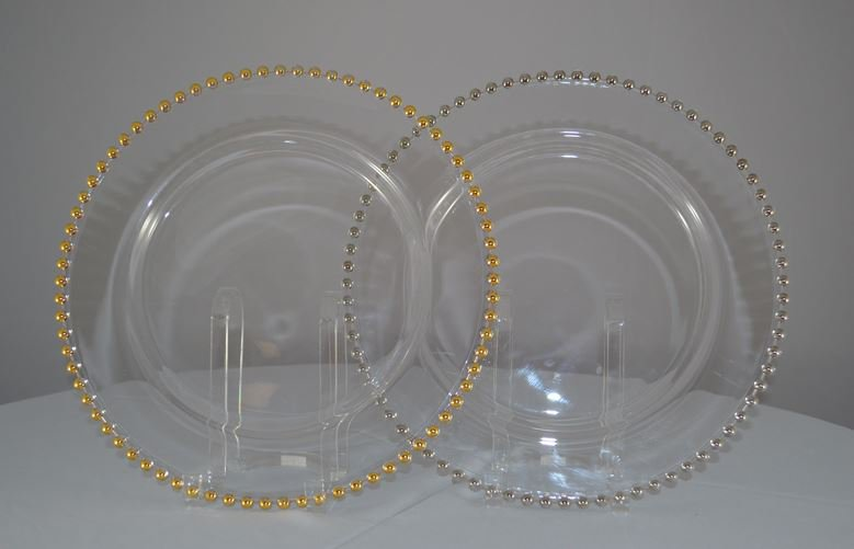 Gold/Silver Beaded Edge Clear Glass Chargers Plate 13""