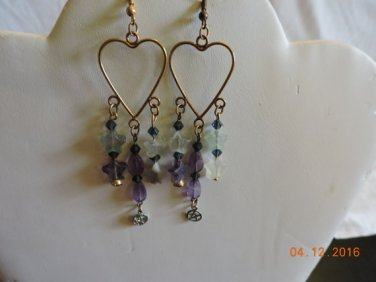 Fluorite and Swarovski Heart Earrings Set
