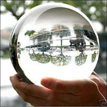 """Clear Crystal Ball Quartz 110mm 4.2"""" With Wooden Stand & Gift Box Top USA Seller"""