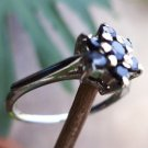 92.5% Sterling Silver Ring Cluster Round Natural Blue Sapphire size 9 (79)