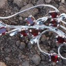 925 Sterling Silver Brooch oval Gemstone Garnet Handmade (650)