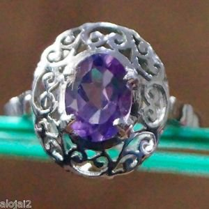 Jali Solitaire Ring Amethyst Sterling Silver 925 Handmade Size 6 (270)
