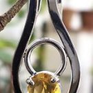 925 Sterling Silver Pendant Natural Citrine Gemstone 1.00 x 0.50 inches (98)