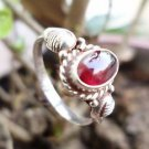 925 Sterling Silver Ring Gemstone Red Garnet Size 6.50 Light Weight (77)
